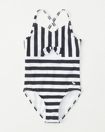 1640d9f9b22 tie-front one-piece swimsuit, navy blue stripe