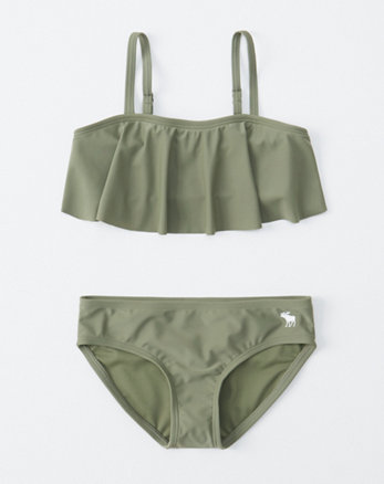 4ff7d1cbaf4 bandeau flounce two-piece swimsuit, olive green