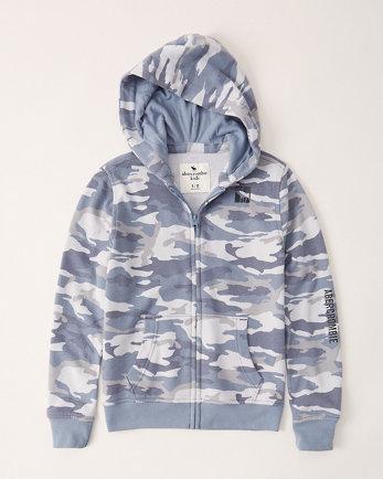 kidsprint logo full-zip hoodie