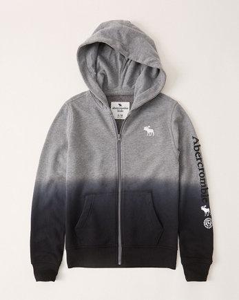 kidsombre full-zip logo hoodie