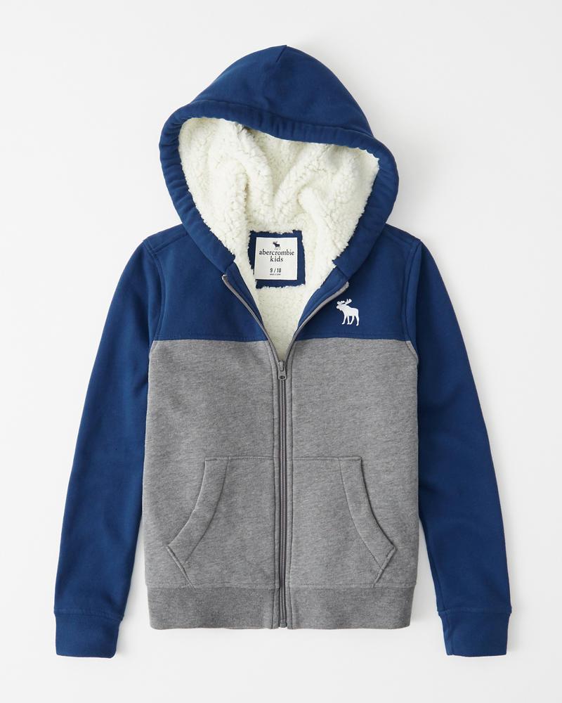 boys sherpa full zip hoodie | boys tops |