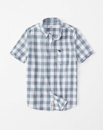 5e1e6c425d2cc chemise preppy à manches courtes, gris clair a carreaux