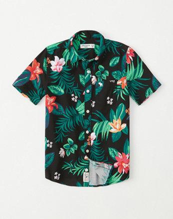 5f51c6ffad42d chemise de plage à manches courtes, noir a fleurs