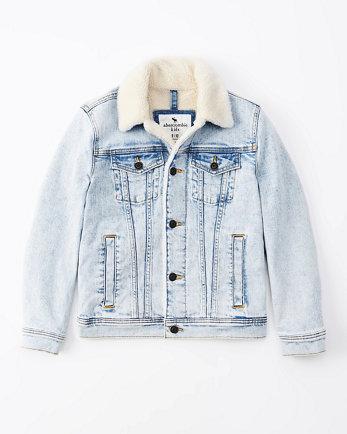kidssherpa-lined denim trucker jacket