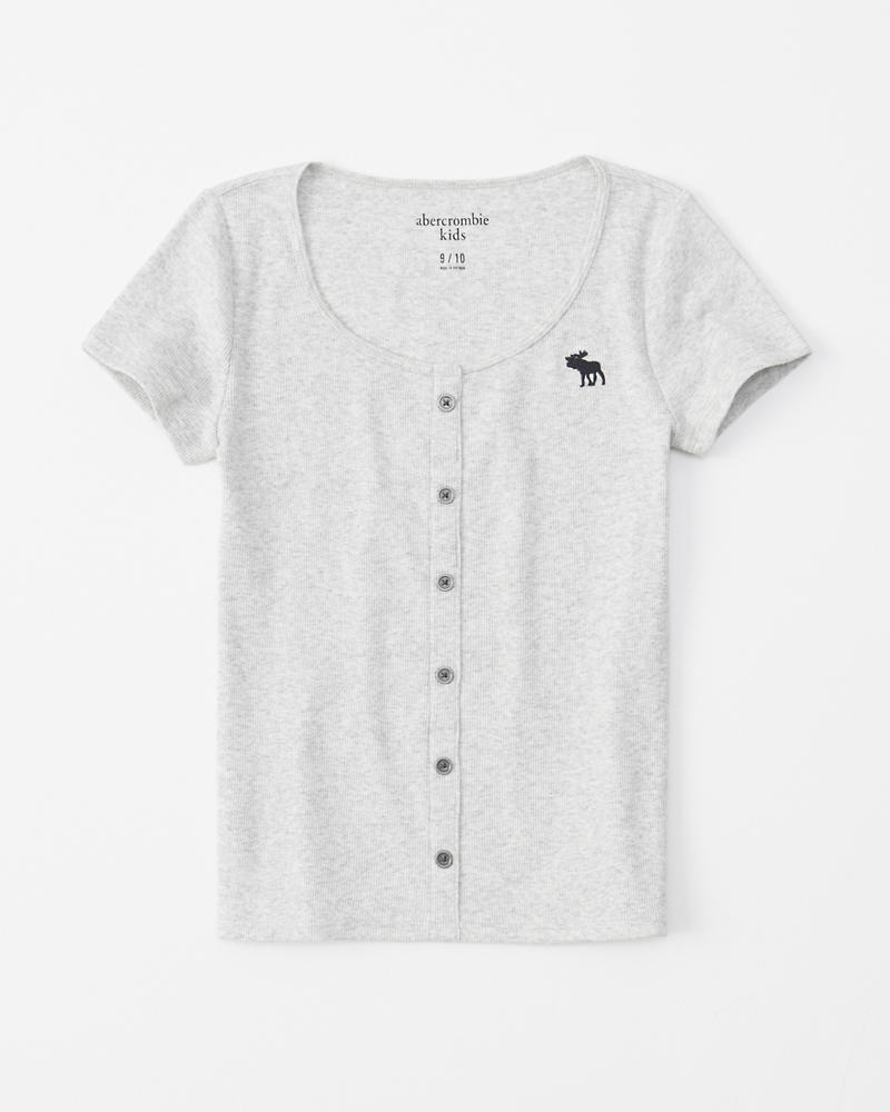 b6fb8151c63d girls button-up ribbed tee | girls clearance | Abercrombie.com