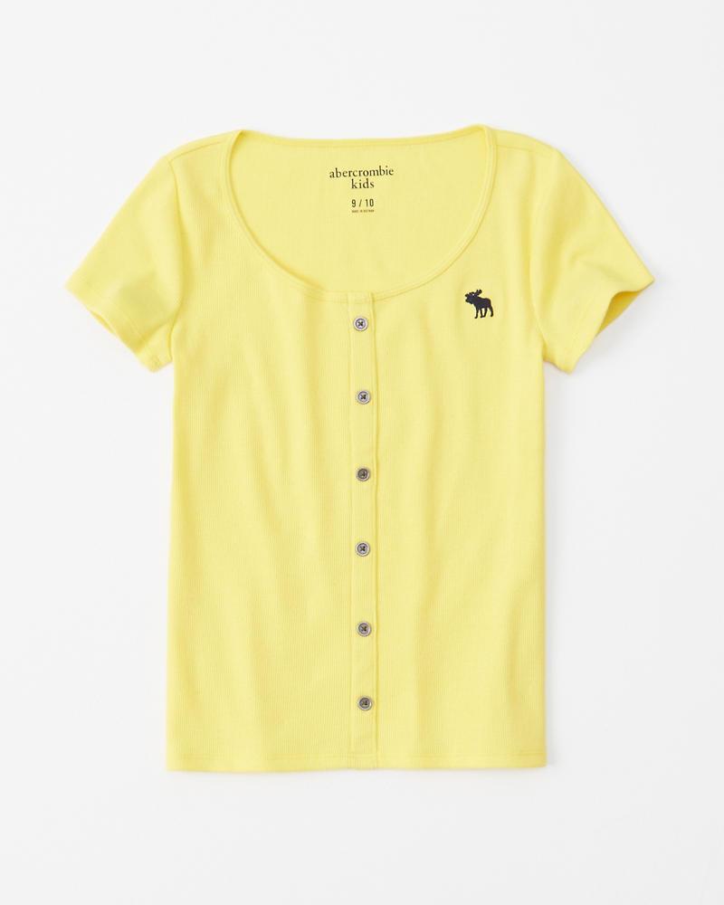 niñas camiseta ribeteada con botones  c7f536eeef6bf