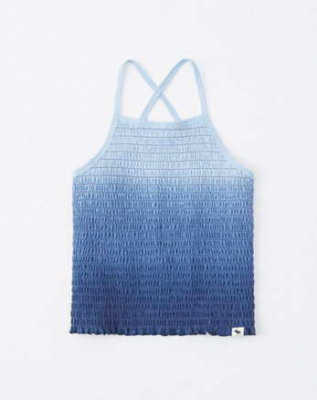 51fc597b smocked high-neck tank, blue ombre