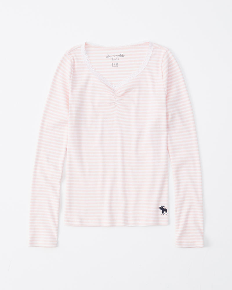 5cfc903d5 girls long-sleeve ruched-front ribbed tee | girls tops | Abercrombie.com