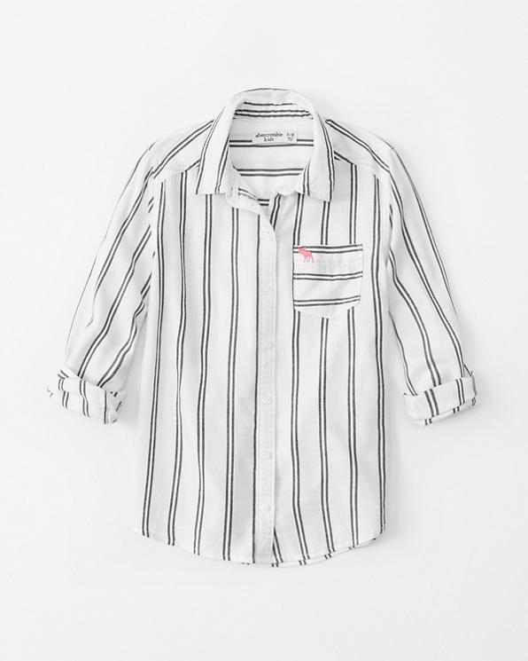 Girls Striped Button Up Shirt Girls Clearance