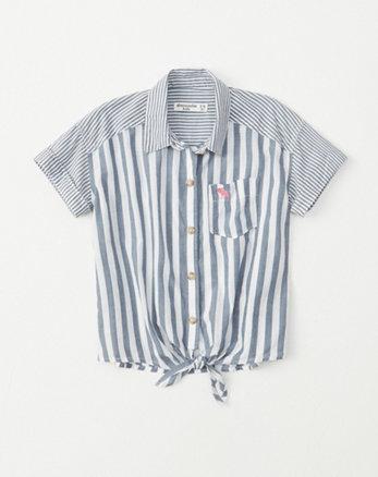 78dea85fd tie-front button-up shirt, blue stripe