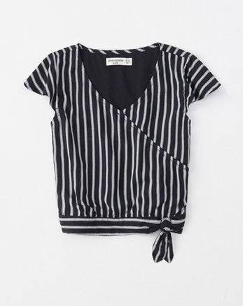7446703e233 wrap-front top, navy blue stripe