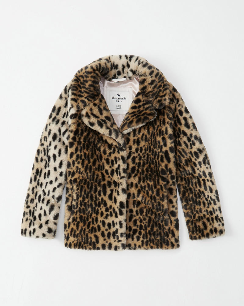 ea0ce6207138 girls faux fur leopard coat