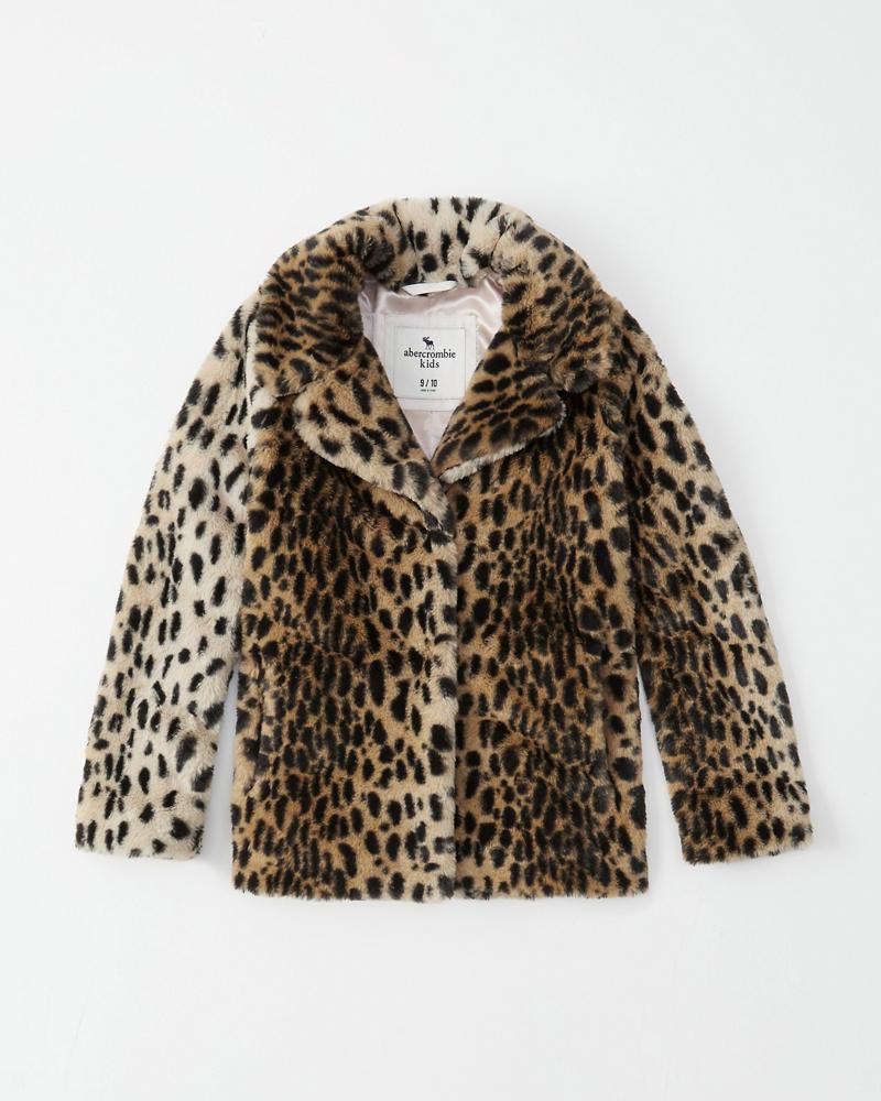 63416a0d11 girls faux fur leopard coat