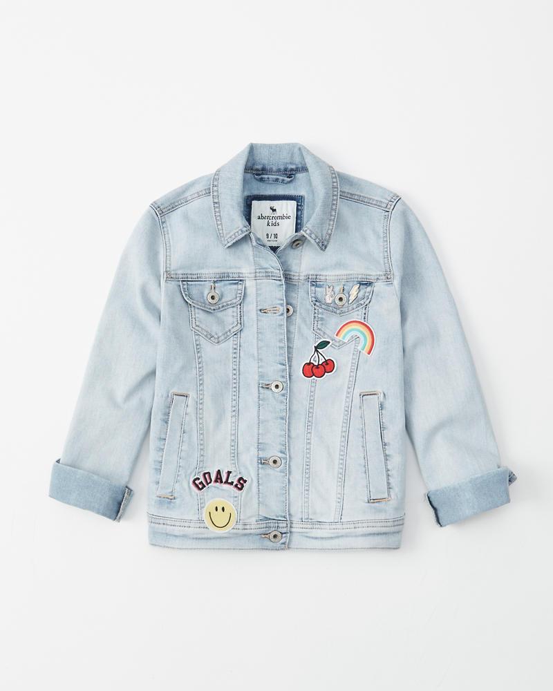 4cf81486e girls patched stretch denim jacket | girls coats & jackets ...
