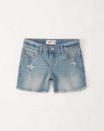 kidsmid rise denim midi shorts