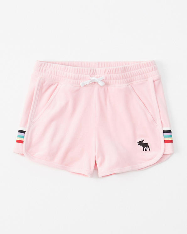 girls velour curved-hem shorts | girls bottoms | Abercrombie com
