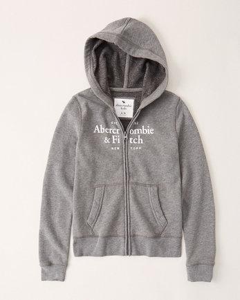 kidsfull-zip logo hoodie