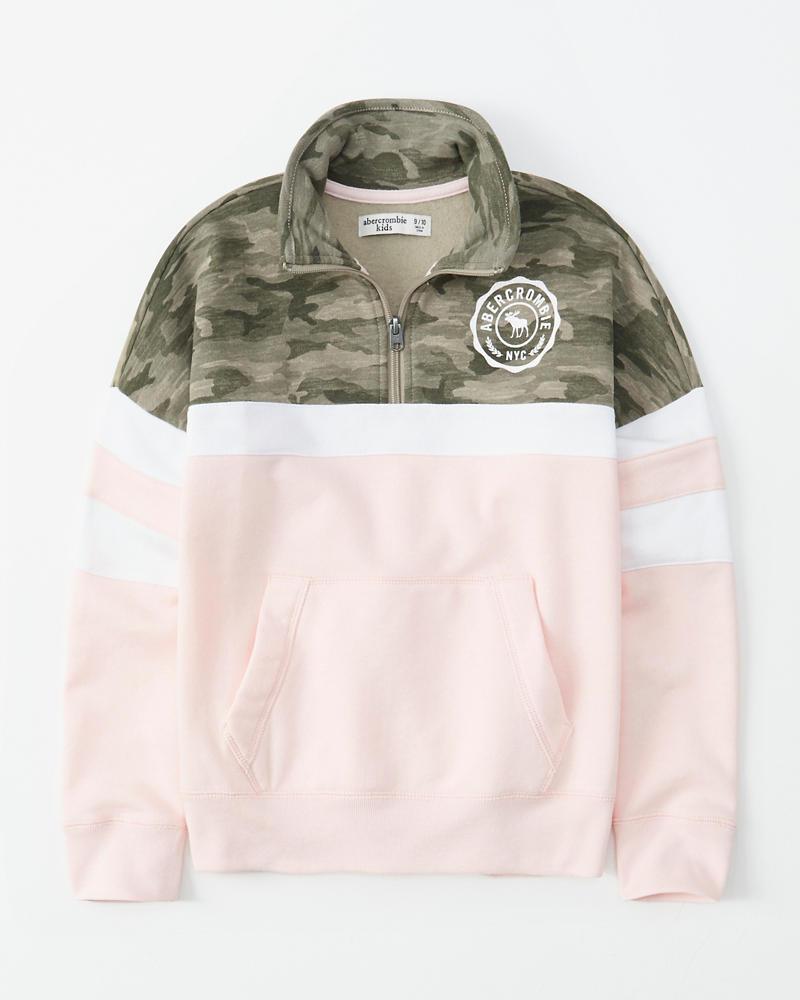 Camo Colorblock Quarter Zip Sweatshirt by Abercrombie & Fitch