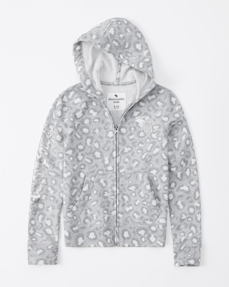 shiny logo full-zip hoodie