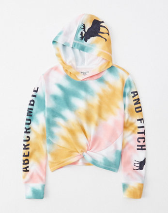14d77bb5e243 knot-front logo hoodie, multi color tie dye with shine