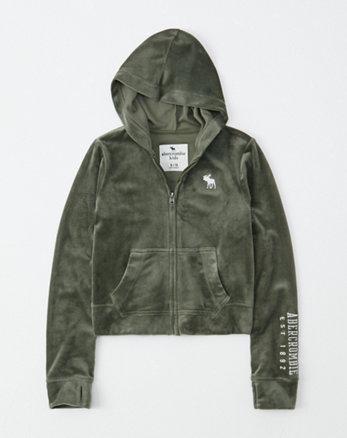 ad316252f5622 sweat à capuche zippé en velours avec emblème, olive green