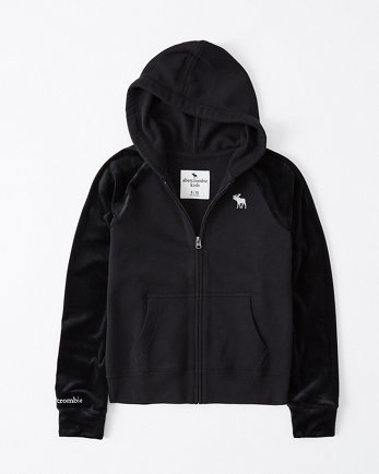 kidsvelour mixed full-zip hoodie