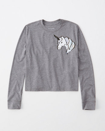 kidslong-sleeve flip-sequin tee