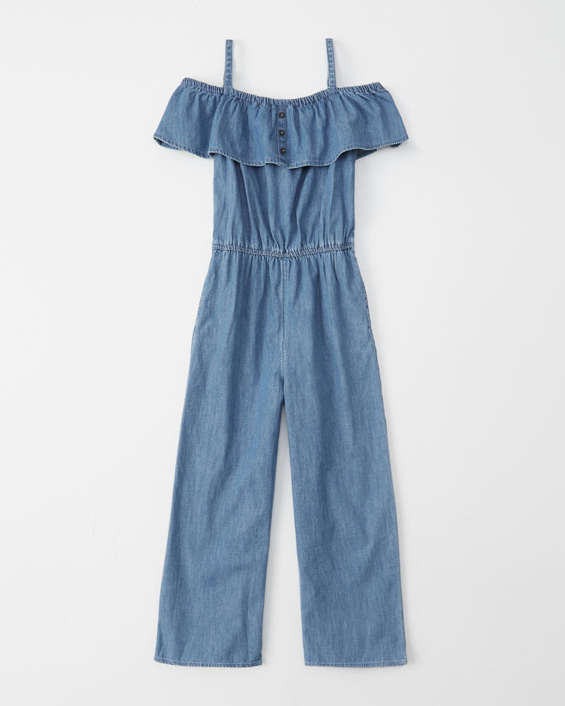 c39ca5e13a7 girls off-the-shoulder chambray jumpsuit