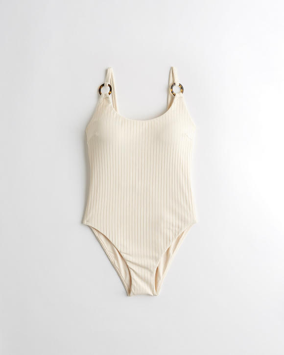 Ribbed Scoop One Piece Swimsuit by Hollister