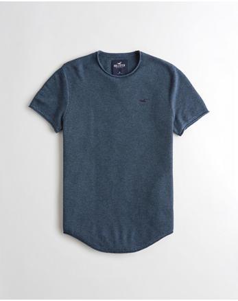 e9d17bf9 Textured Curved Hem Sweater T-Shirt, HEATHER NAVY
