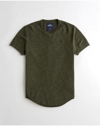 f05ab45a4 Textured Curved Hem Sweater T-Shirt, HEATHER OLIVE