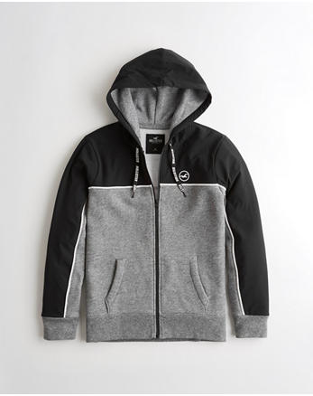 Stretch Nylon Full-Zip Hoodie, BLACK AND HEATHER GREY e615a7816d