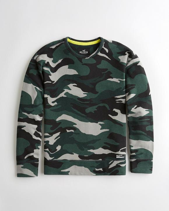 Camo Terry Crewneck Sweatshirt by Hollister