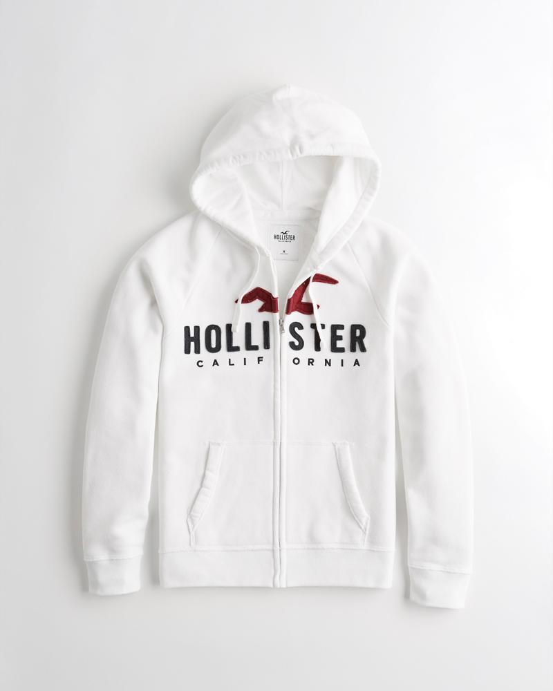 75021b7ba Guys Full-Zip Logo Hoodie   Guys Tops   HollisterCo.com