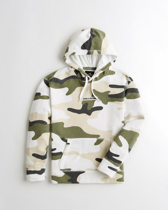 Camo Box Logo Terry Hoodie by Hollister