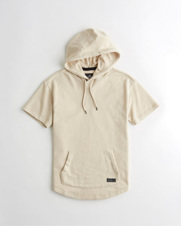 Curved Hem Short Sleeve Hoodie by Hollister