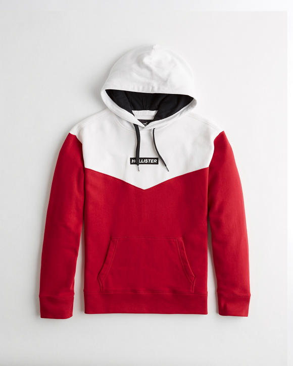 Colorblock Box Logo Hoodie by Hollister