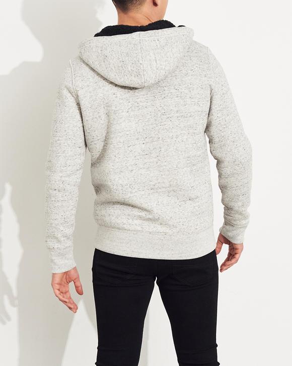 Gars Sweat à capuche zippé avec logo et doublure en sherpa