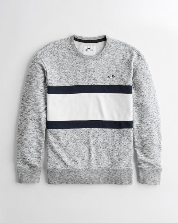 Colorblock Terry Crewneck Sweatshirt by Hollister