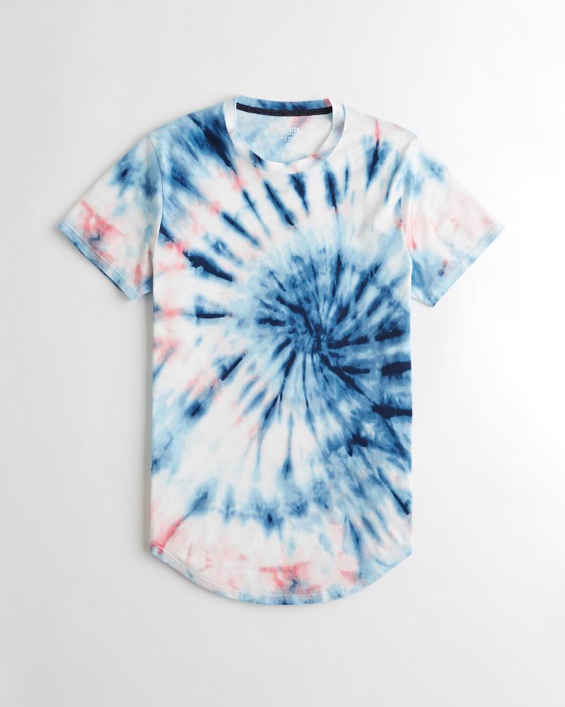 3d548a173ac56a Guys Tie-Dye Curved Hem T-Shirt