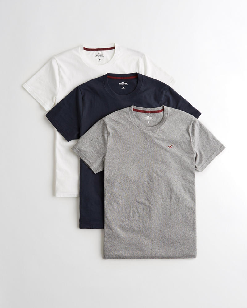 c74e6fb567ef8 Guys Must-Have Crewneck T-Shirt 3-Pack   Guys Tops   HollisterCo.com