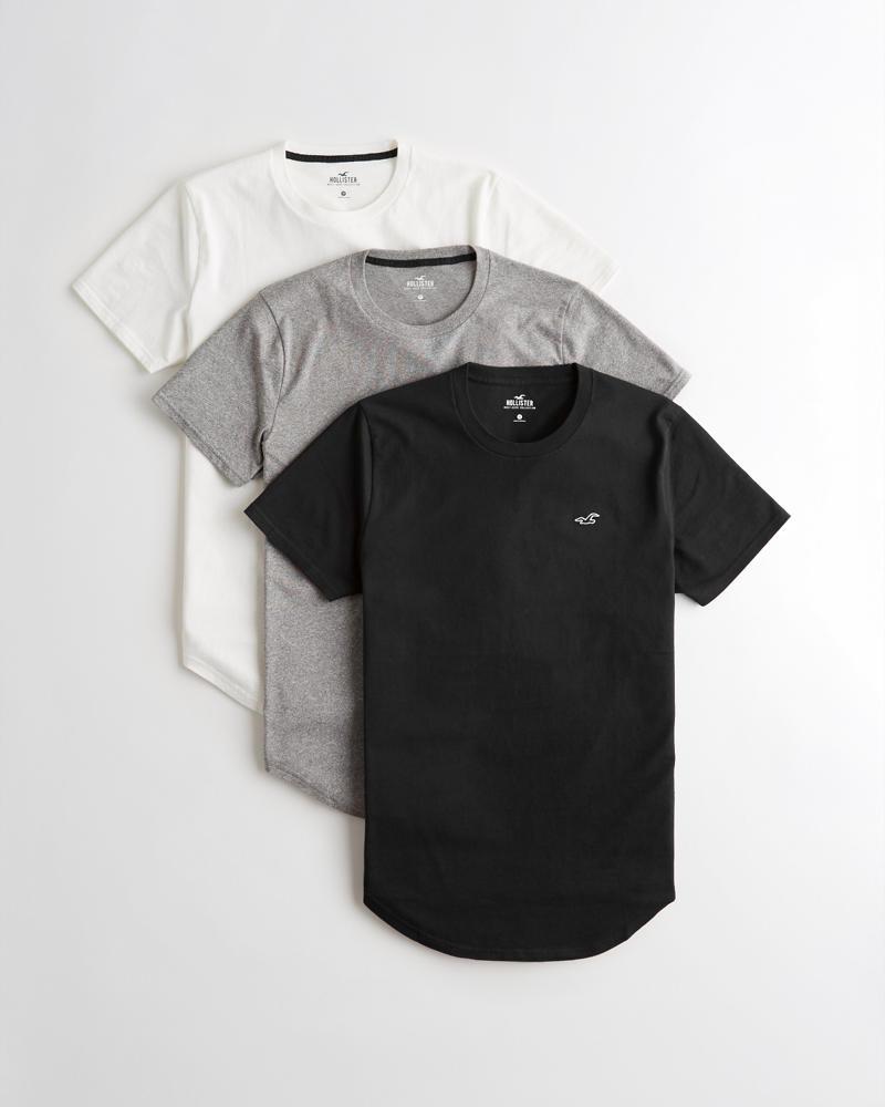 92d10bf446b2 Guys Must-Have Curved Hem T-Shirt 3-Pack | Guys Tops | HollisterCo.com