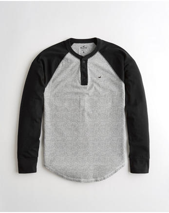 58b110969 Colorblock Henley T-Shirt, BLACK AND HEATHER GREY