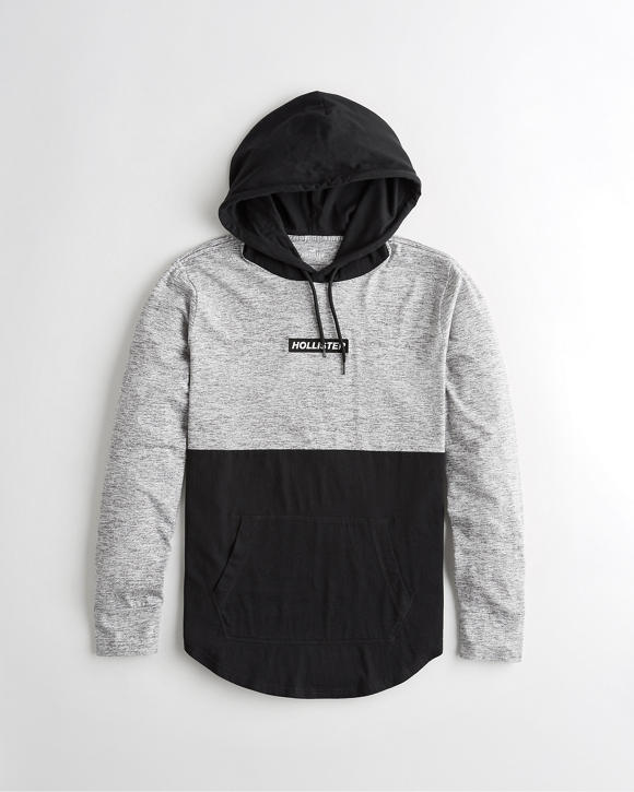 Colorblock Box Logo Hooded T Shirt by Hollister