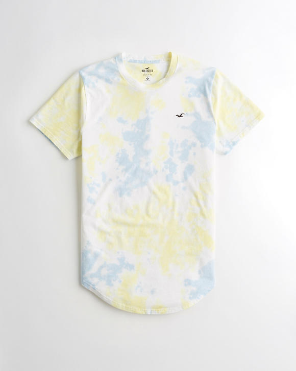 Tie Dye Curved Hem T Shirt by Hollister