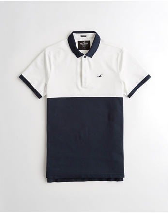 fef851fa Stretch Colorblock Slim Fit Polo, WHITE AND NAVY