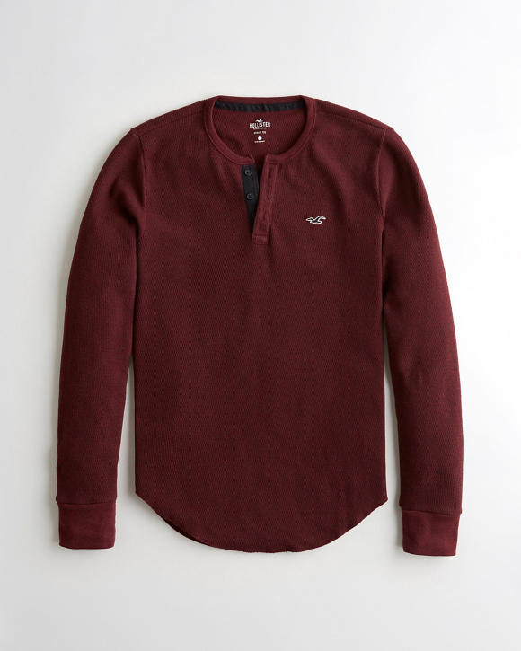 Cozy Thermal Henley T Shirt by Hollister