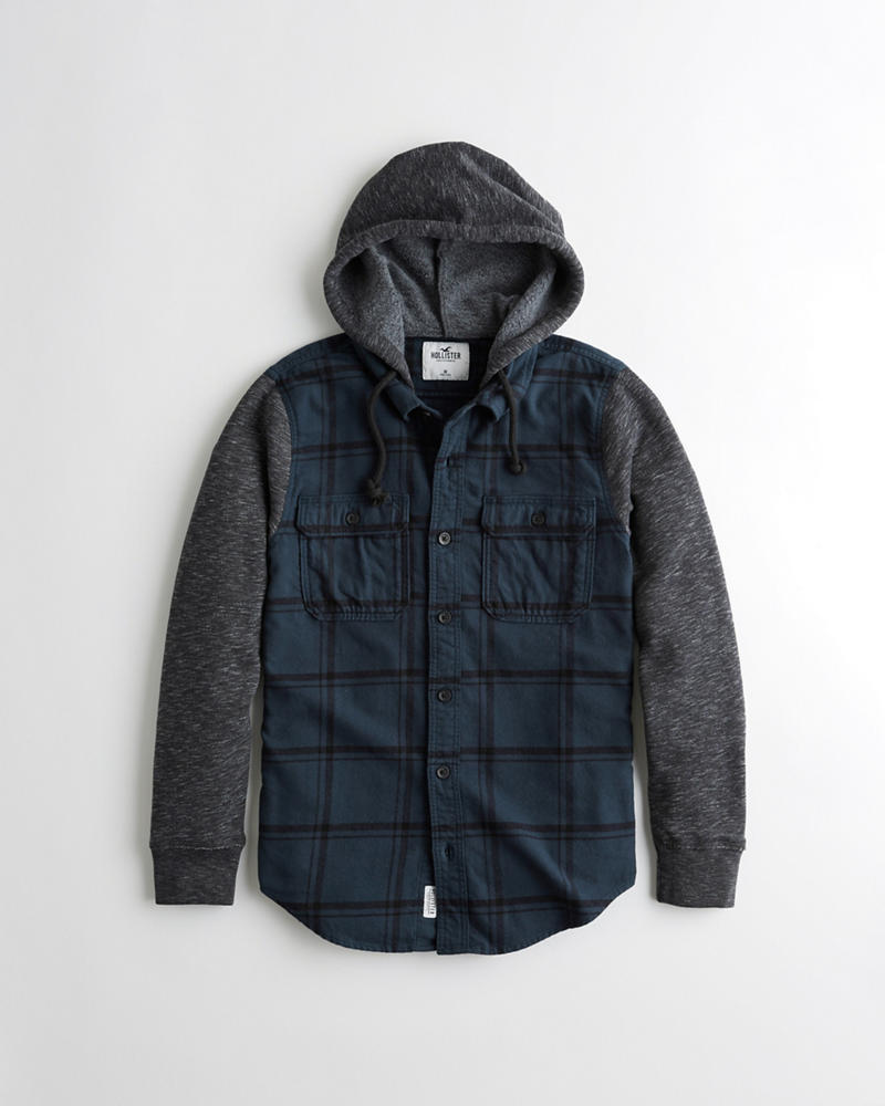 9d96377bc84a Guys Hooded Flannel Shirt