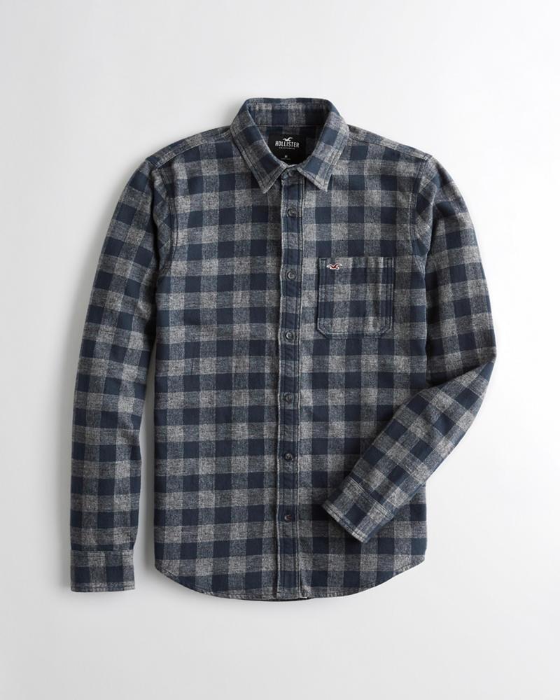 3292013536e Guys Plaid Flannel Slim Fit Shirt