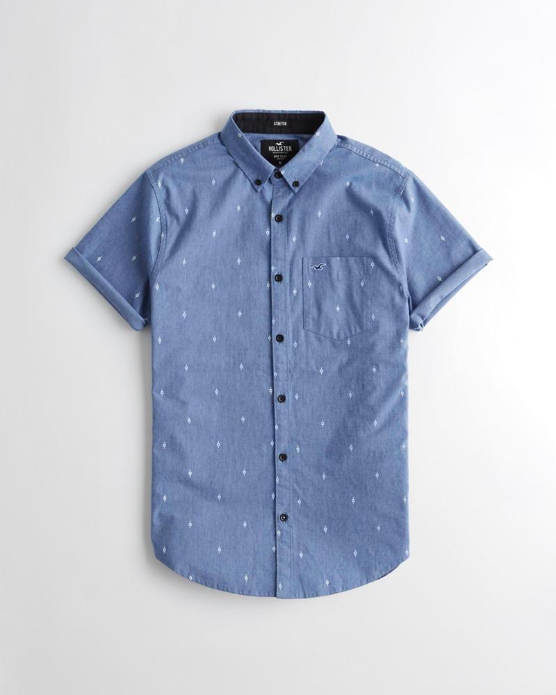 2fb0caf5341 Guys Short-Sleeve Stretch Oxford Slim Fit Shirt